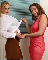 Two horny bisexual housewives playing with eachother and share one guy